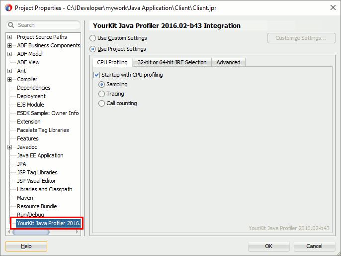 YourKit Java Profiler Help - JDeveloper